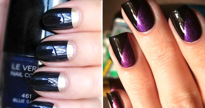 Как накрасить ногти двумя цветами как