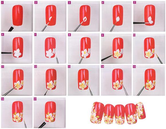 рисуем цветы на ногтях акриловыми красками пошагово