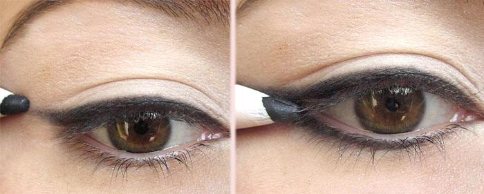 красим глаза при помощи карандаша