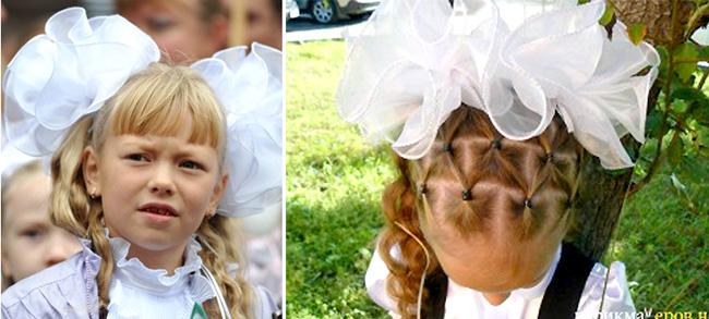 прически для девочек на 1 сентября банты, хвосты с бантами, прическа сеточка