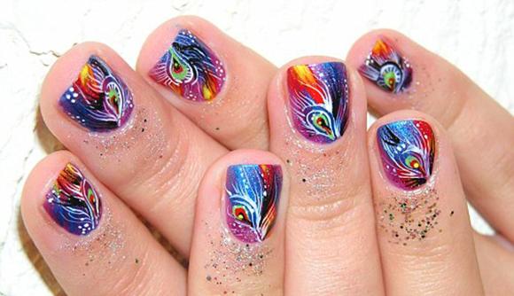 рисунок сакуры на коротких ногтях