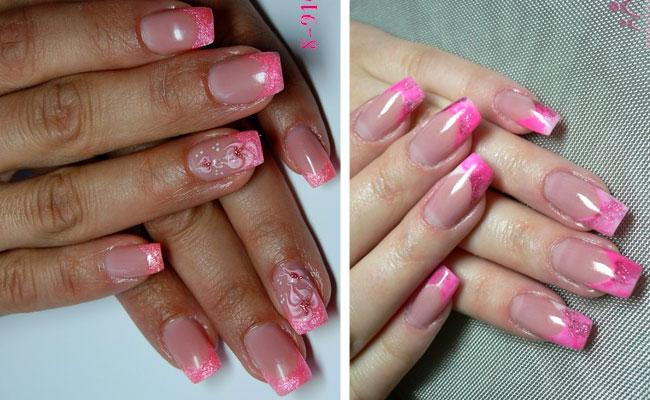 Дизайн ногтей чёрно-розовый