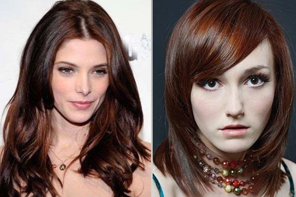 Шоколадно-рыжие оттенки волос фото