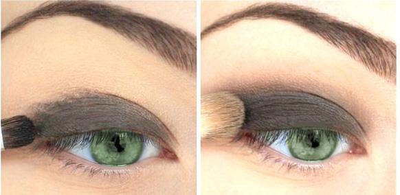 серые тени для зеленых глаз. Макияж пошагово. Шаг 1