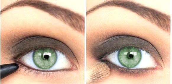 шаг 2 макияж для зеленых глаз серые тени