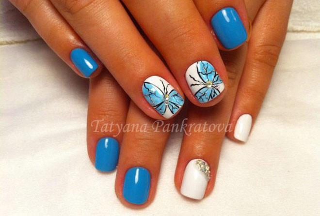 дизайн шеллак бабочки голубой и белый цвет