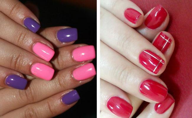 розовый и фиолетовый шеллак двухцветный маникюр