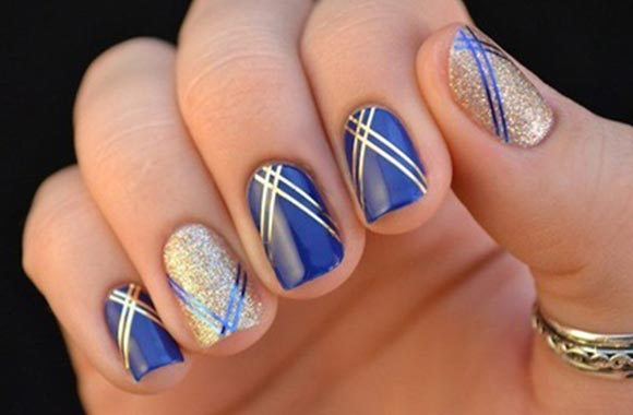 шеллак синий и золото полоски