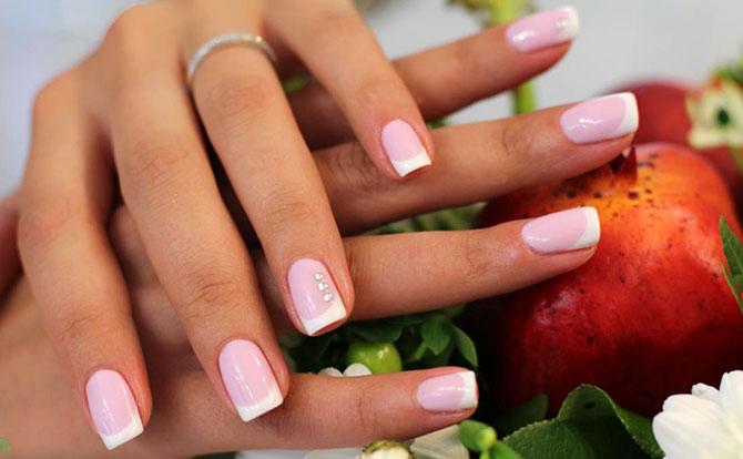 Шеллак — френч на короткие ногти фото