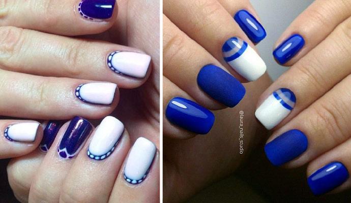 Синий маникюр - фото модного синего лака