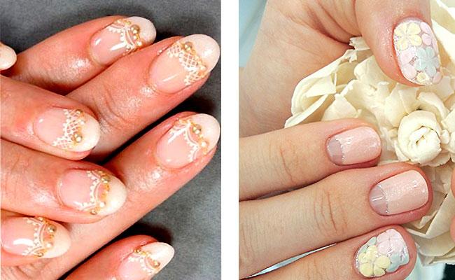 свадебный маникюр для коротких ногтей двухцветный