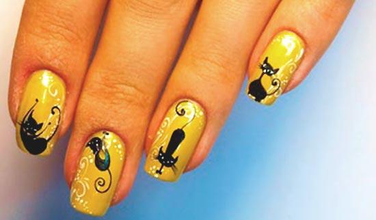 Дизайн ногтей с котом